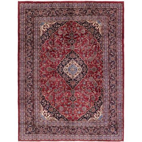 Hand Knotted Mashad Wool Area Rug - 8' 5 x 11'