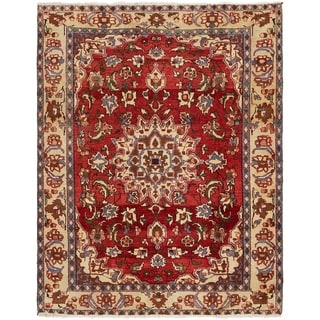 Hand Knotted Mahabad Semi Antique Wool Area Rug - 4' 10 x 6' 3