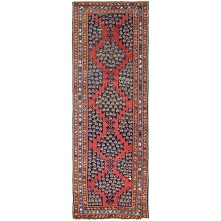 Hand Knotted Malayer Semi Antique Wool Runner Rug - 5' 1 x 13' 10