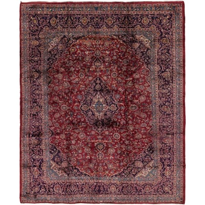 Hand Knotted Mashad Antique Wool Area Rug - 10' x 12' 6