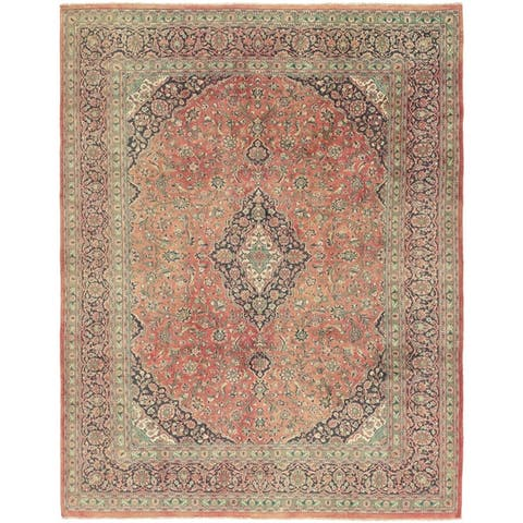 Hand Knotted Mashad Antique Wool Area Rug - 9' 9 x 12' 8