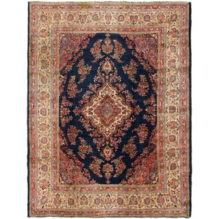 Hand Knotted Mahal Semi Antique Wool Area Rug - 8' 9 x 11' 10