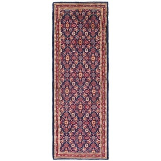 Hand Knotted Mahal Semi Antique Wool Runner Rug - 3' 7 x 10'