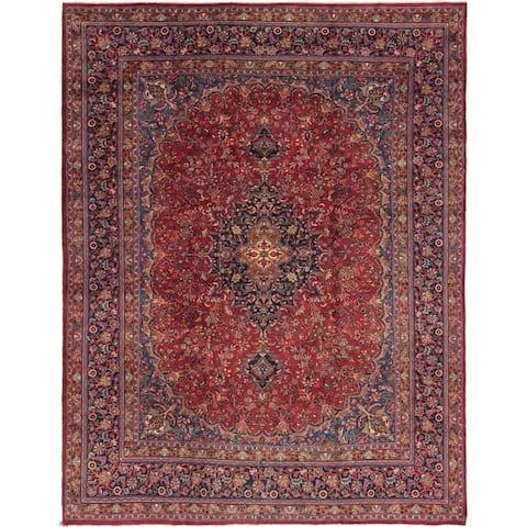 Hand Knotted Mashad Wool Area Rug - 9' 9 x 12' 6