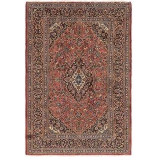 Hand Knotted Mashad Semi Antique Wool Area Rug - 6' 7 x 9' 7