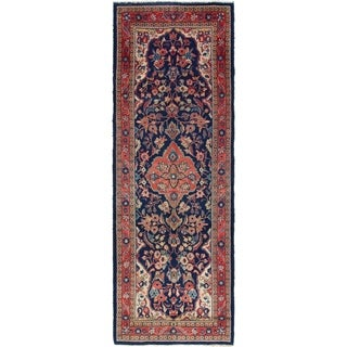 Hand Knotted Mahal Semi Antique Wool Runner Rug - 3' 7 x 10' 5