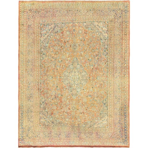 Hand Knotted Mashad Antique Wool Area Rug - 9' 6 x 12' 4
