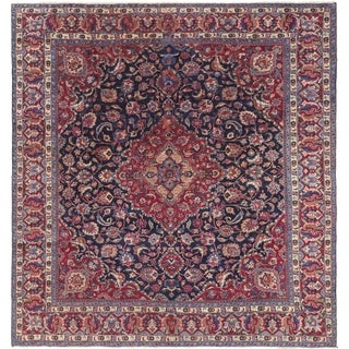 Hand Knotted Mashad Semi Antique Wool Square Rug - 9' 10 x 10' 5