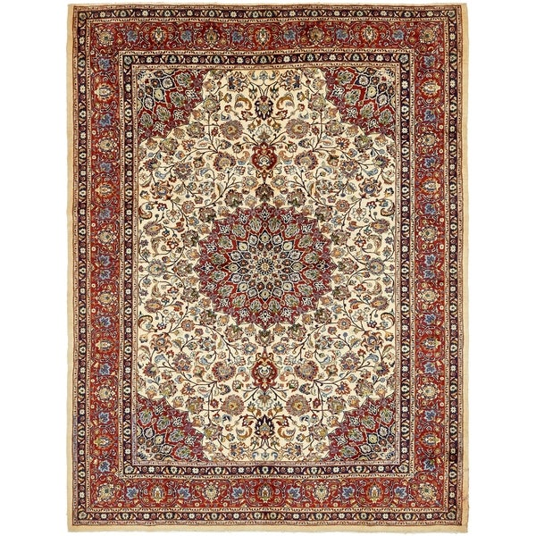 Shop Hand Knotted Mashad Semi Antique Wool Area Rug 10 X 12 10