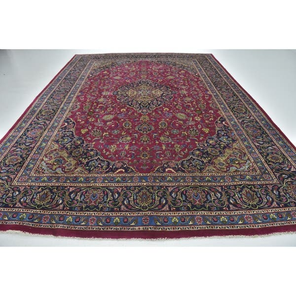 Hand Knotted Mashad Wool Area Rug