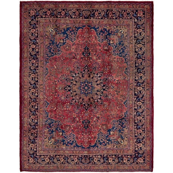 Hand Knotted Mashad Semi Antique Wool Area Rug - 9' 10 x 12' 7