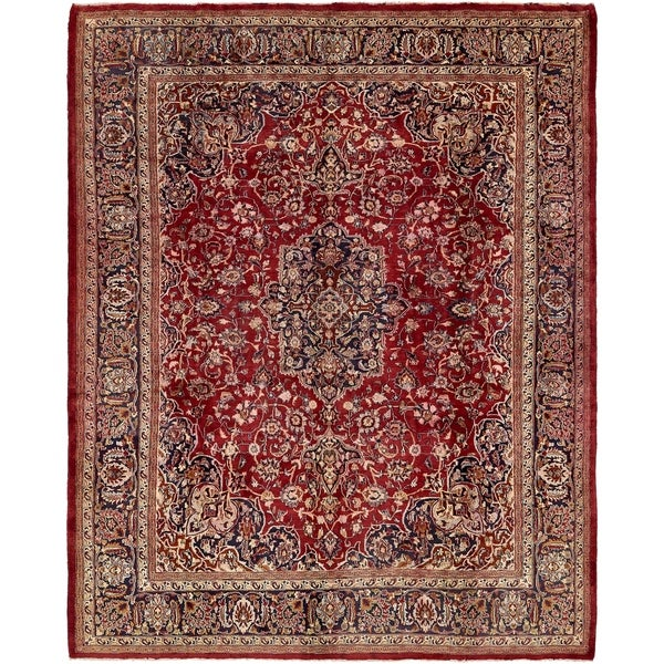 Hand Knotted Mashad Semi Antique Wool Area Rug 9 8 X 12 4 On Sale Overstock 24013331