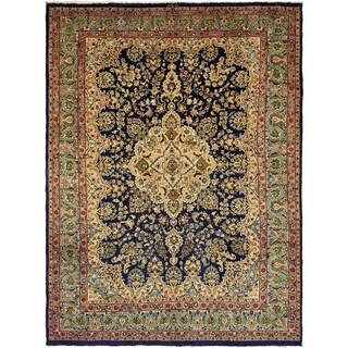 Hand Knotted Mashad Semi Antique Wool Area Rug - 9' 8 x 13' 3
