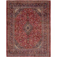 Hand Knotted Mashad Semi Antique Wool Area Rug - 9' 7 x 12' 6