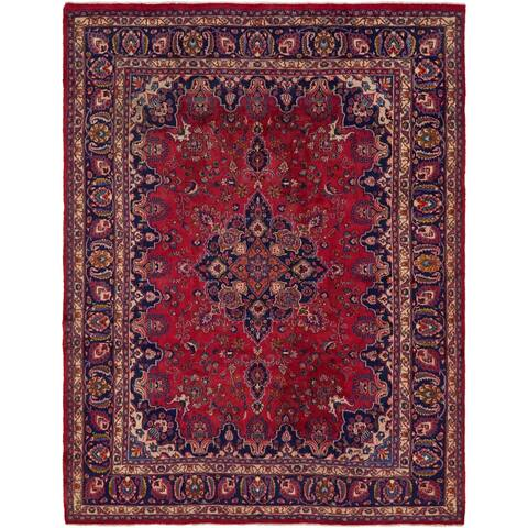 Hand Knotted Mashad Semi Antique Wool Area Rug - 9' 7 x 12'