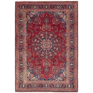 Hand Knotted Mashad Semi Antique Wool Area Rug - 6' 4 x 9' 6