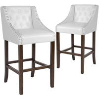 Carmel Series Walnut 30-inch High Transitional Tufted Bar Stool with Accent Nail Trim (Set of 2)