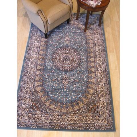 """Blue Traditional Oriental Tabriz Rug - 7'10"""" x 9'10"""""""