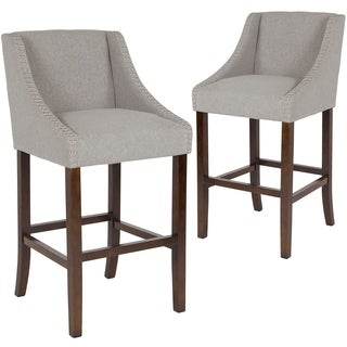 """2 Pk. Carmel Series 30"""" High Transitional Walnut Barstool with Accent Nail Trim"""