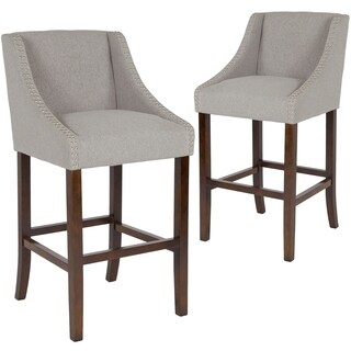 Lancaster Home Carmel Transitional Walnut Barstool with Accent Nail Trim (Set of 2)