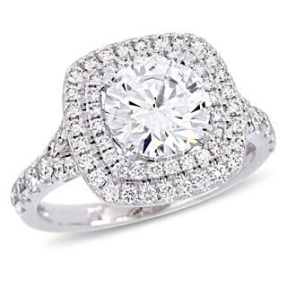 Miadora 14k White Gold 2 4/5ct TDW Certified Diamond Double Halo Engagement Ring (GIA)