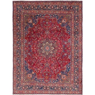 Hand Knotted Mashad Semi Antique Wool Area Rug - 9' 5 x 12' 9