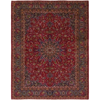 Hand Knotted Mashad Semi Antique Wool Area Rug - 9' 9 x 13' 8
