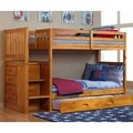 Solid Pine Mission Staircase Twin over Twin with Four Drawer Chest and Roll Out Twin Trundle in Honey.