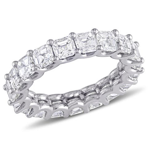 Miadora 18k White Gold 5 1/10ct TDW Asscher-Cut Diamond Full-Eternity Band