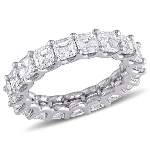 Miadora 18k White Gold 5 1/10ct TDW Asscher-Cut Diamond Full-Eternity Band