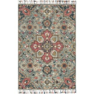 """Hand-hooked Bohemian Blue/ Pink Floral Medallion Wool Area Rug - 5' x 7'6"""""""