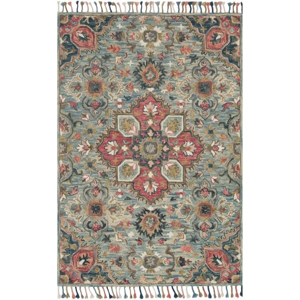 Shop Hand-hooked Bohemian Blue/ Pink Floral Medallion Wool