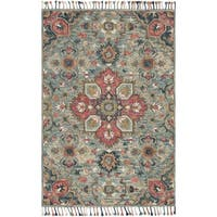 Hand-hooked Bohemian Blue/ Pink Floral Medallion Wool Area Rug - 5' x 7'6