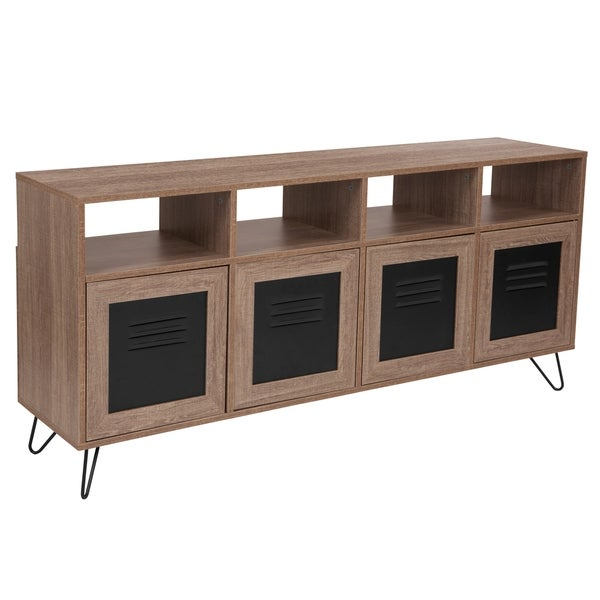 Groovy Woodridge Collection 85 5W Wood Grain Finish Console And Storage Cabinet With Metal Doors Home Interior And Landscaping Mentranervesignezvosmurscom
