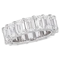 Miadora 18k White Gold 11 3/8ct TDW Certified Emerald-Cut Diamond Full-Eternity Band (GIA)
