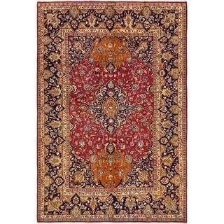 Hand Knotted Mashad Wool Area Rug - 6' 5 x 9' 6