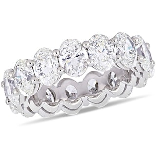 Miadora 18k White Gold 7 1/2ct TDW Certified Oval-Cut Diamond Full-Eternity Band (GIA)