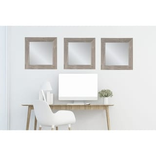 3 Piece Weathered Barnwood Square Mirror Set - weathered brown/gray - 21.5 x 21.5, 21.5 x 21.5, 21.5 x 21.5