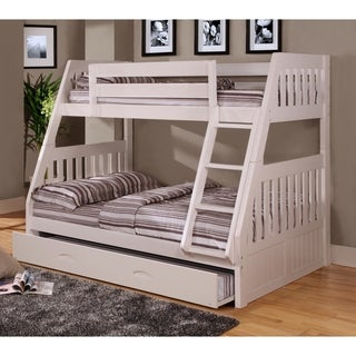 American Furniture Classics Model 0218-TFWT, Solid Pine Twin/Full Bunk Bed with Roll out Twin Trundle bed in White.