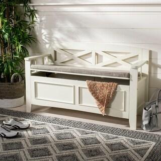 "Safavieh Anisa Storage Bench- Bone / Light Grey - 50"" x 18"" x 30"""