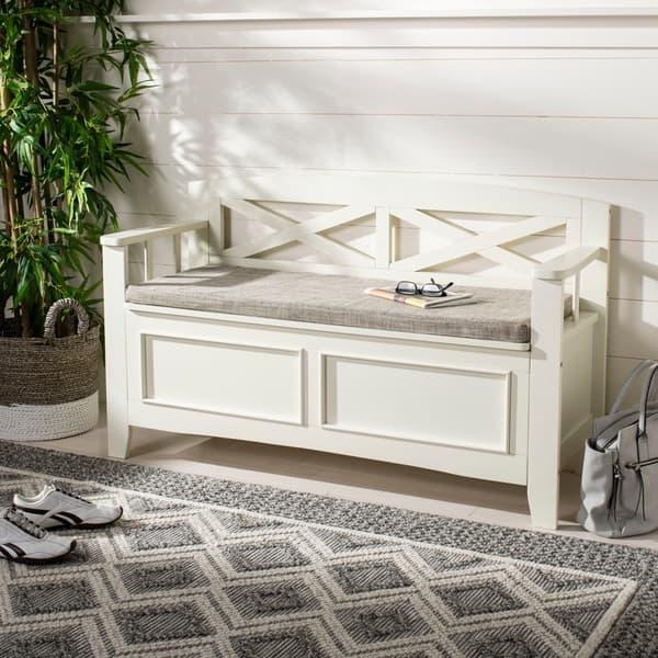 Amazing Shop Safavieh Anisa Storage Bench Bone Light Grey 50 X Andrewgaddart Wooden Chair Designs For Living Room Andrewgaddartcom