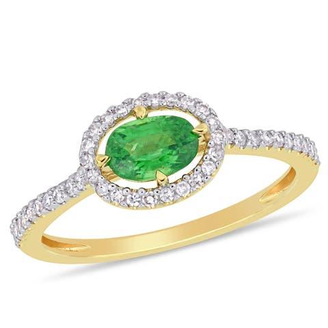 Miadora 14k Yellow Gold 3/5ct TGW Tsavorite and 1/5ct TDW Diamond Halo Ring