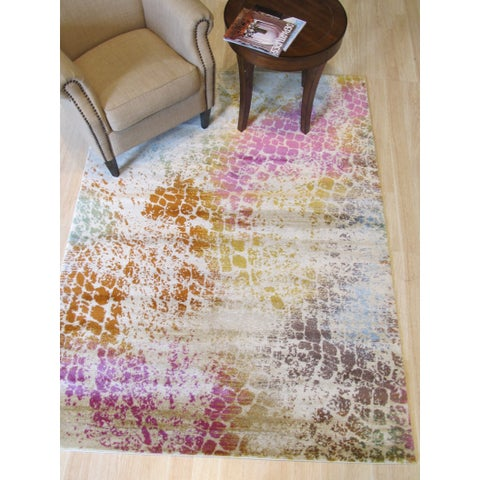 "Ivory Bohemian Abstract Capella Rug - 7'10"" x 9'10"""