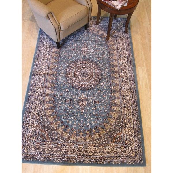 """Blue Traditional Oriental Tabriz Rug - 4'11"""" x 7'10"""""""