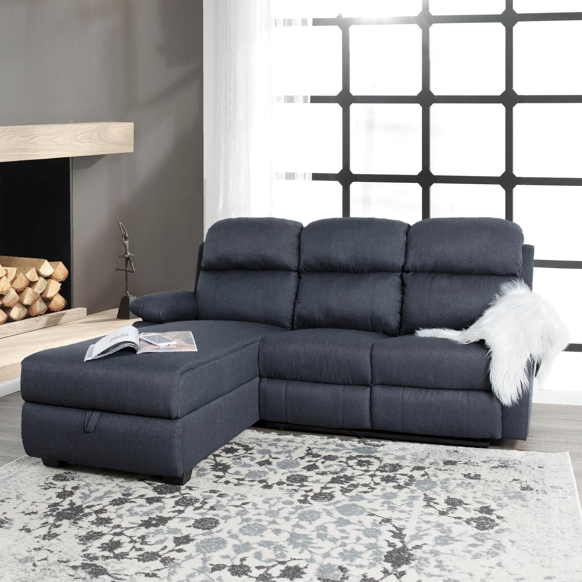 Melody Recliner L-shaped Corner Sectional Sofa with Storage - 66\