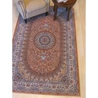 Rust Traditional Oriental Tabriz Rug - 7'10 x 9'10