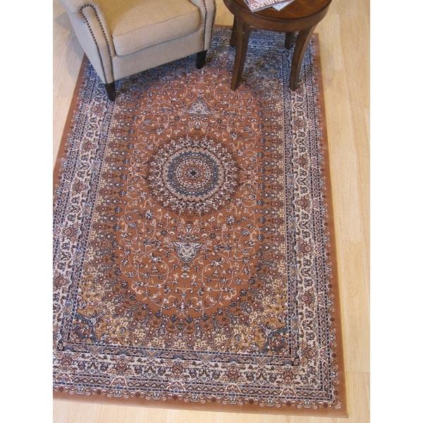 "Rust Traditional Oriental Tabriz Rug - 7'10"" x 9'10"""
