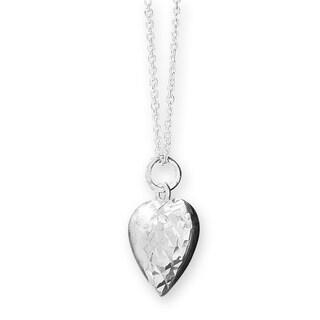 Sterling Silver Diamond Cut Heart Pendant Necklace 18