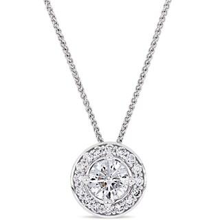 Miadora 14k White Gold 1 1/3ct TDW Diamond Halo Necklace