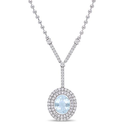 Miadora 14k White Gold Aquamarine and 1-1/2ct TDW Diamond Y-Necklace